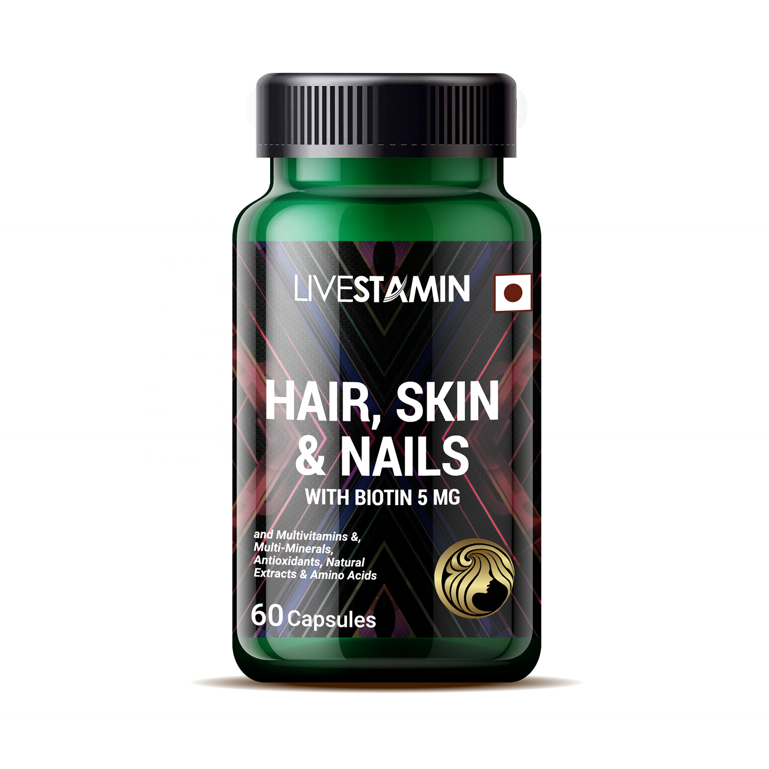 Advanced Hair Skin & Nails with Biotin 5000 mcg Capsules Vitamins, Minerals & Herbal extracts Supplement Private Label GMP ISO