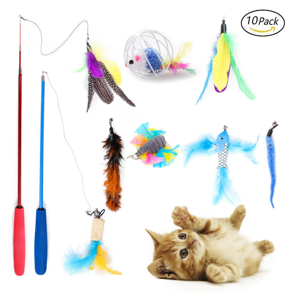 Manufacturer direct selling cat feather toy interactive pet toys 10 Packs Durable Pet Puppy Cat Teaser set