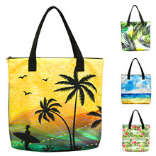 Manufacturer Supplier Casual Customized Printing Polyester Woman Shoulder Tote Beach Bag Shopping Bag