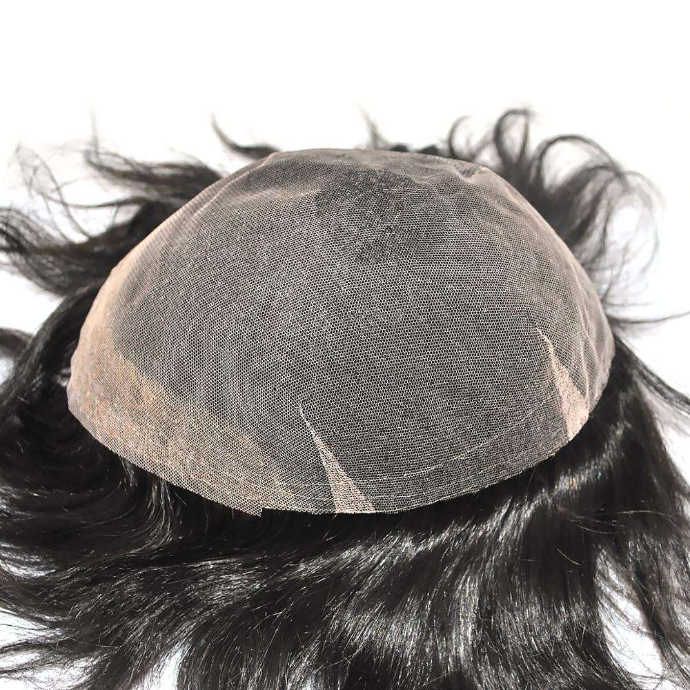Wholesale super french lace hair mens toupee, cheap top quality real long hair pieces