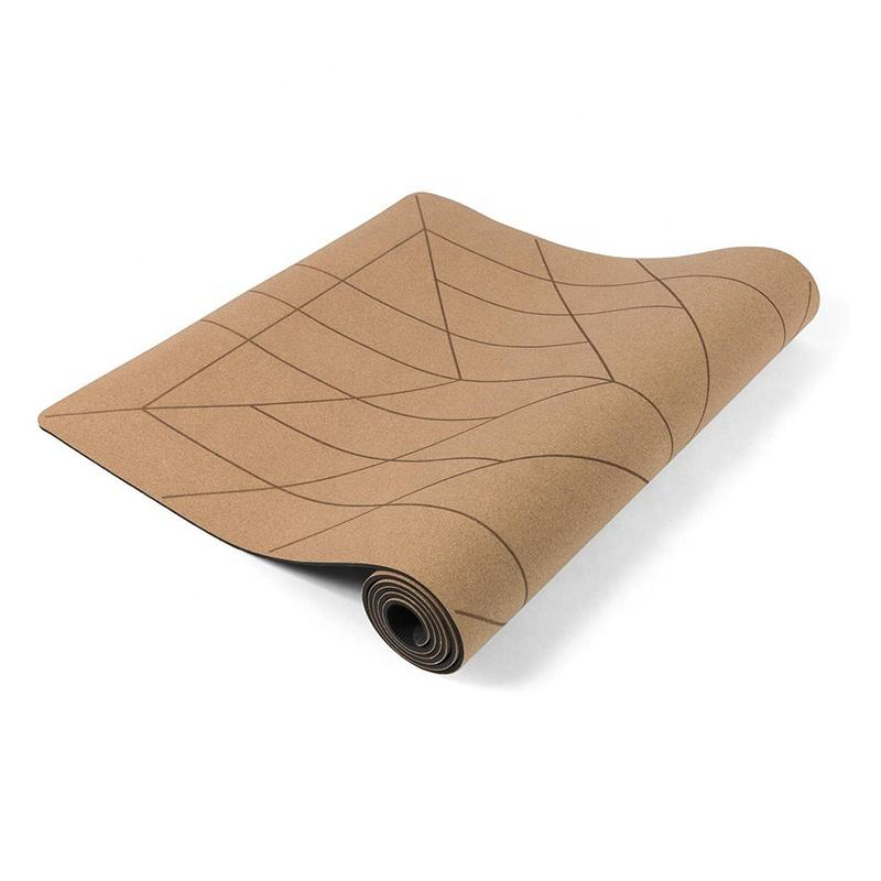 high quality eco friendly cork customize yoga mat with carrying bang brown