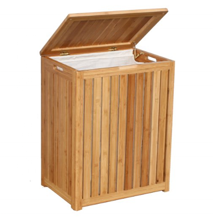 Totally Bamboo Spa-Style Bamboo Laundry Storage Hamper Hot Selling Square Cube Bamboo Folding Hamper Top Quality Laundry Basket