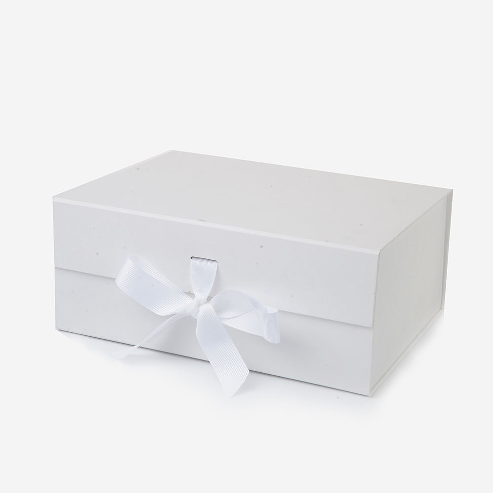 Custom Logo Design Skirt Big White Ribbon Magnetic Close Folding Packaging Gift Box For Shopping