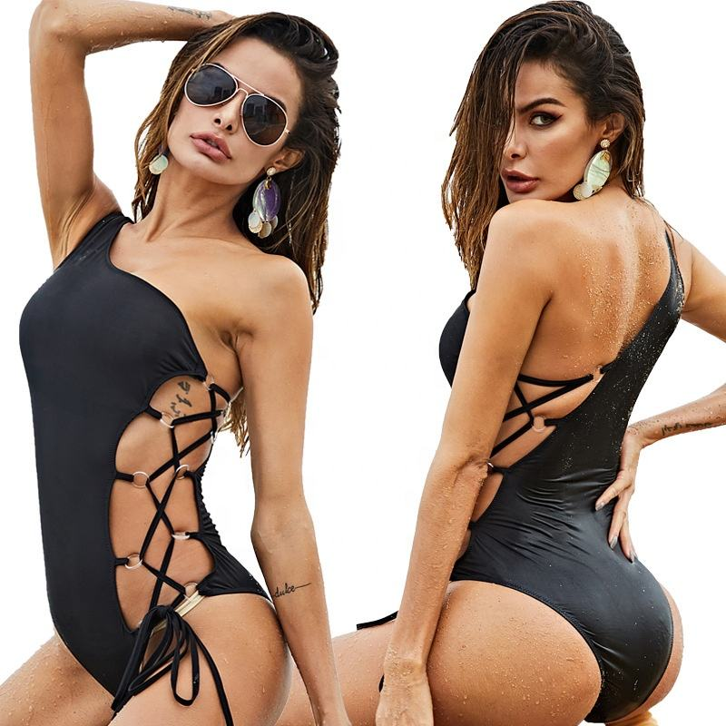 New piece sexy ladies one shoulder strap solid color bikini swimsuit 8 sizes DFD478