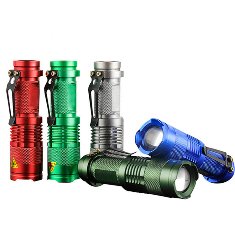 Custom colorful high power strong brightness zoom rechargeable battery holder torch mini flashlight