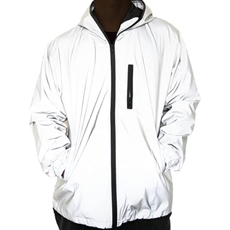 Women Men Reflective Tracksuit Coat Hooded Waterproof Breathable Windproof High Visibility Fashion Runing Pocket Jacket