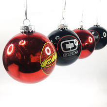 Christmas Gifts Ornaments 8CM Red Black Plastic Ball Decorated With Logo Pattern