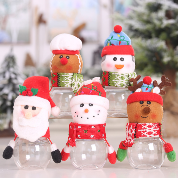 Cute Kids plastic christmas candy jar Santa Christmas candy Bottle Sweet Christmas candy Box for decoration