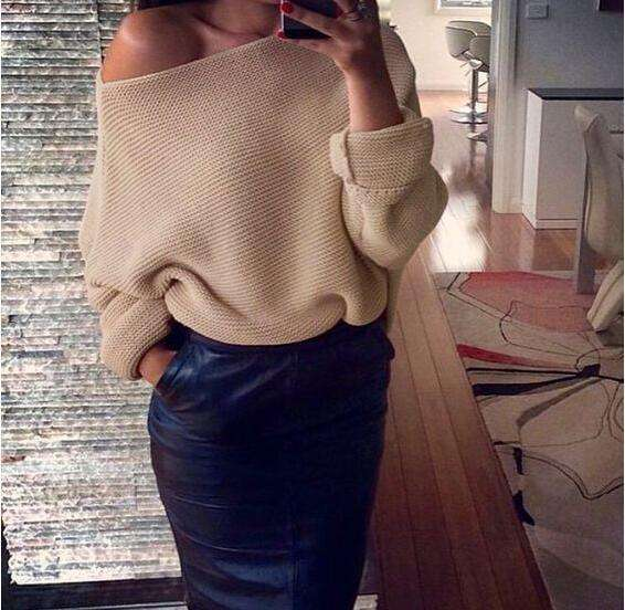 Womens Off Shoulder Knitted Oversize Baggy Sweater Pullover Ladies Jumper Tops