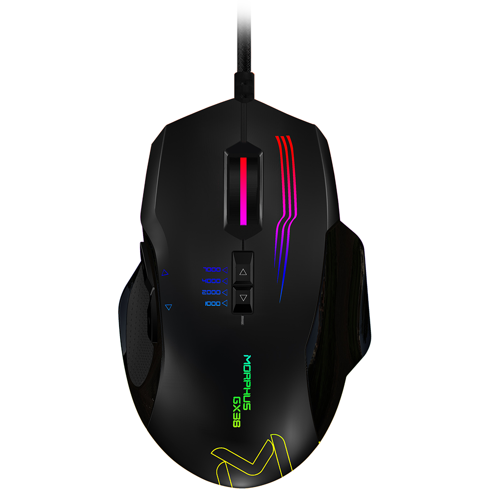 GX38 Programmable Optical Gaming Mouse 7000DPI USB2.0 / MCU - Holtech HT82F553 - PixArt PMW3320 Optical