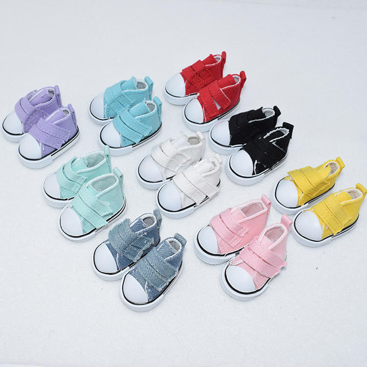 5CM casual canvas shoes Barbie doll 6 points BJD doll cloth shoes double row doll shoes keychain keyring