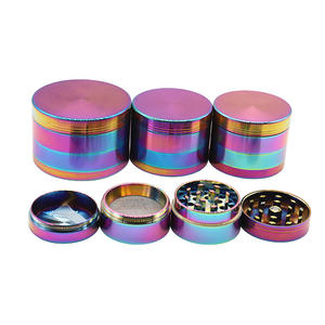 BSCI factory wholesale retail 4 layers zinoc alloy mini rainbow weed herb grinder