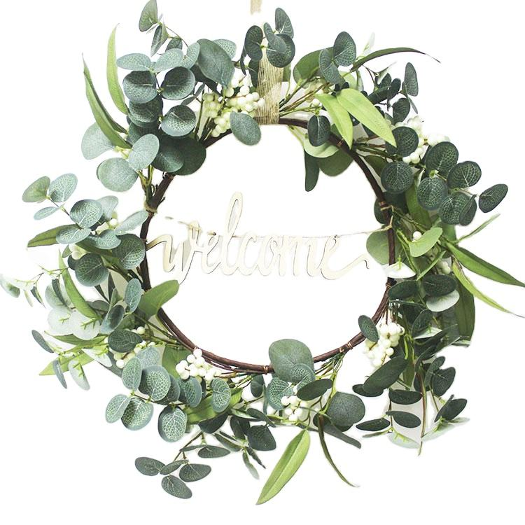 Spring natural artificial green eucalyptus decorative wreath with white berry for four season front door year round decoration