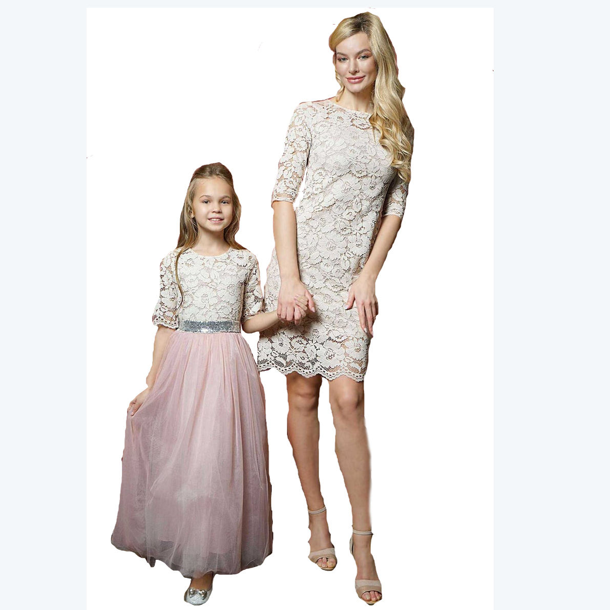 Customized fashion high quality mom and daughter matching dresses family matching clothing mother daughter matching dress