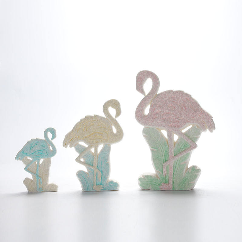 Porcelain Stand Flamingo Ornaments Ceramic Trinket Home