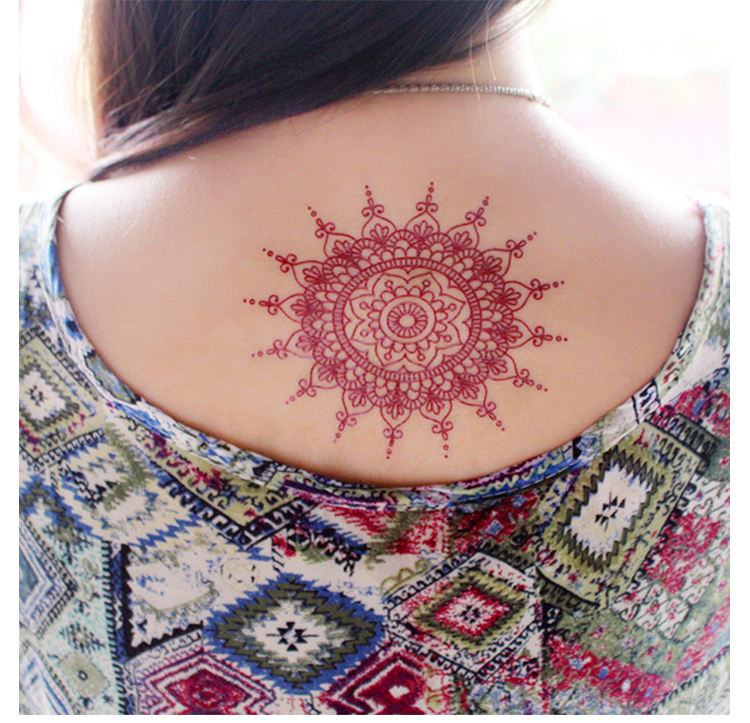 Custom Sexy Beauty Design Red Arabic Henna Body Tattoo Sticker Lace Temporary Sticker