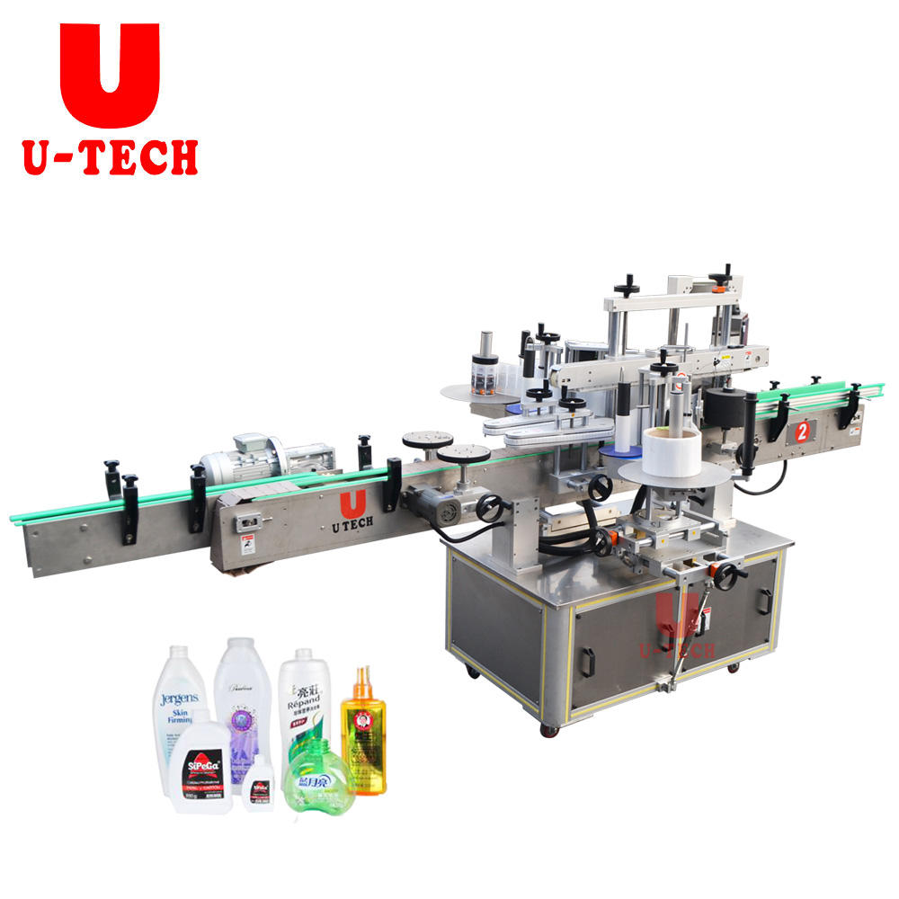 U TECH automatic Double Side Bottle Labeling Manufacturing Plant Machine Price