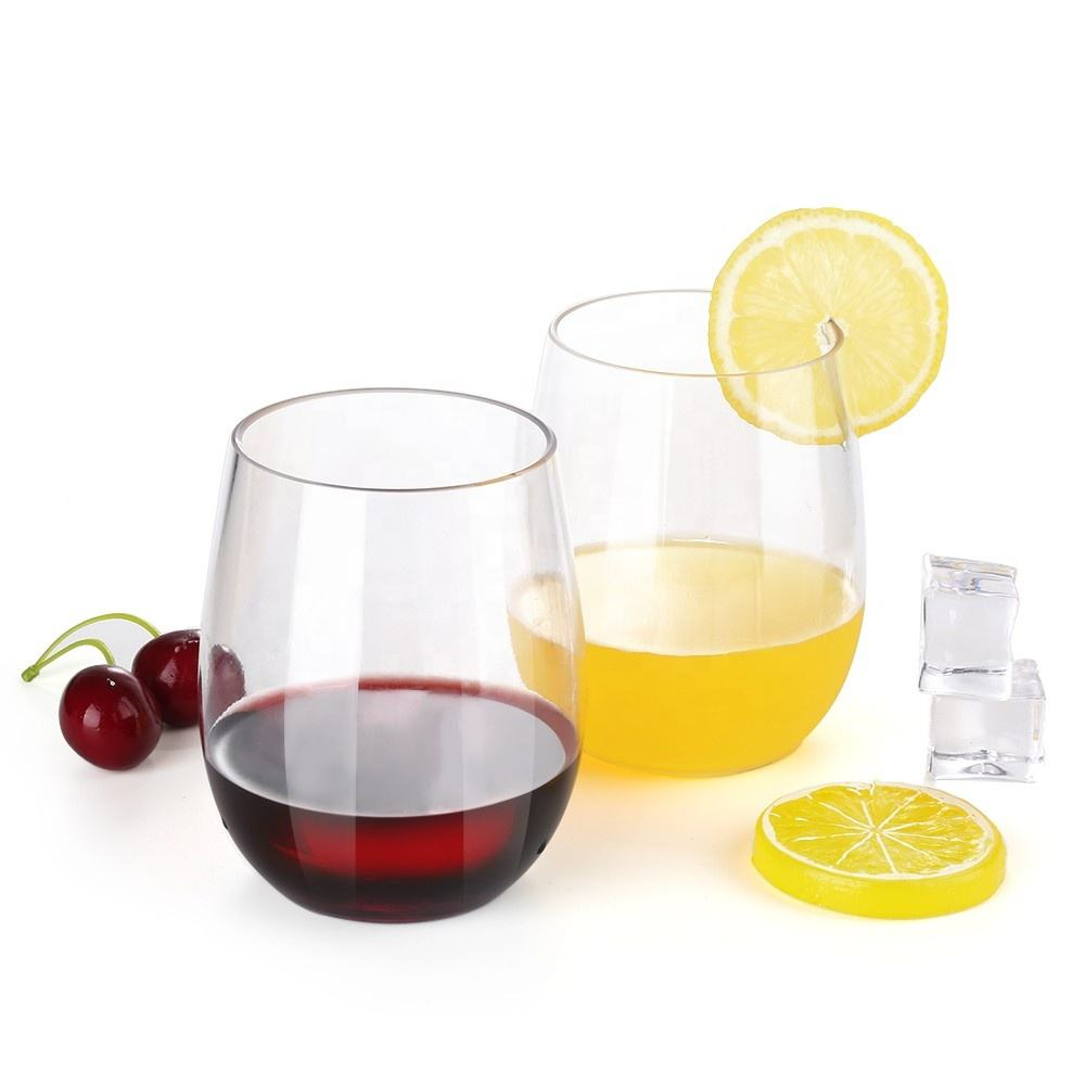 Custom Logo Shape Size High Quality Plastic Stemless Wine Glass