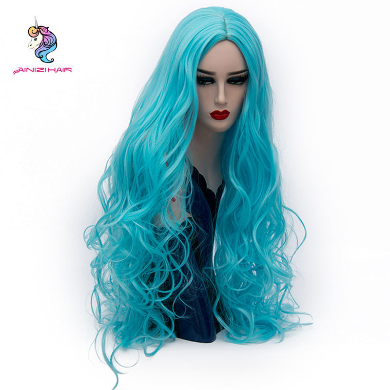 Ainizi synthetic hair wigs Durable Using Low Price 80cm Body Wave 21Colors Curly Long Cosplay Party Wigs for cosplay lovers