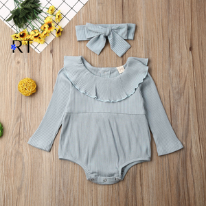Baby Romper 2020 Autumn Girl's Ruffled Collar Long Sleeve Infant Bodysuit