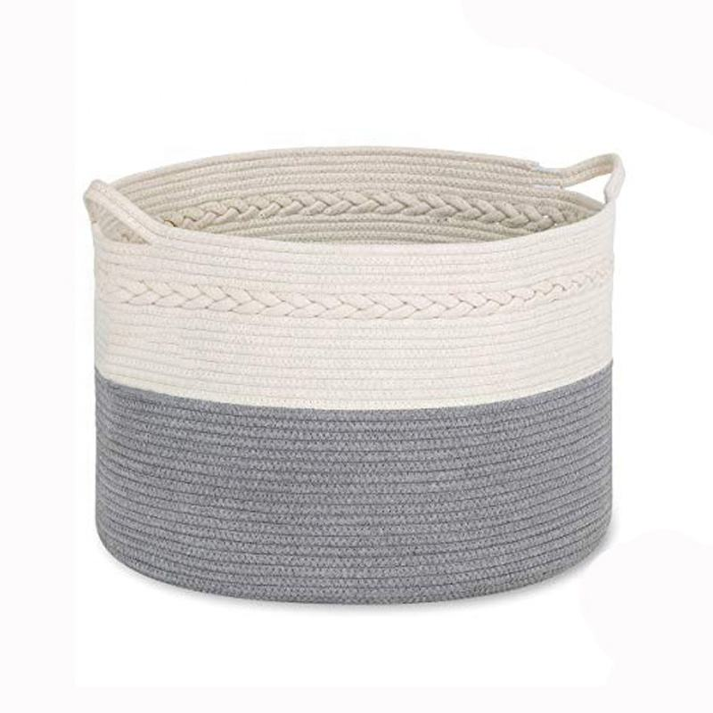 Factory Hot Wholesale Living Room Rattan Basket/ Rattan Weaving Cotton Rope Material Woven Natural Storage Baskets
