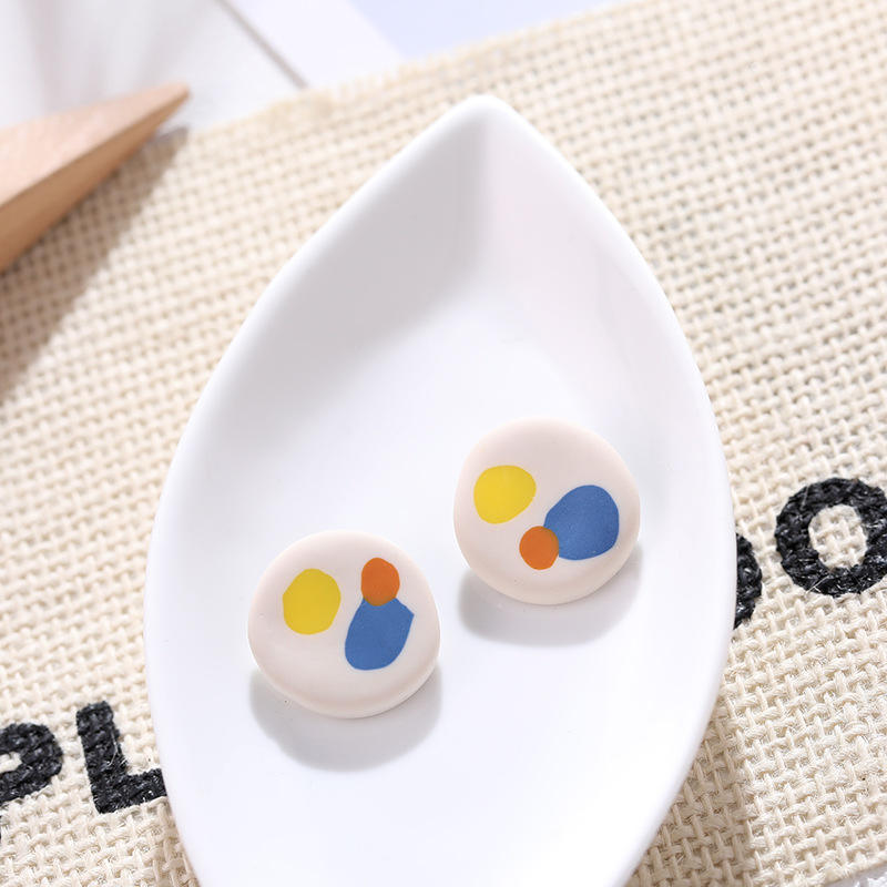 Fashion Korean Temperament Palette Earrings Jewelry Women Polymer Clay Stud Earrings