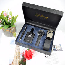 2019 new man exquisite perfume watch gift sets custom luxury VIP business belt pen men gift set with private label and logo
