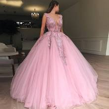 Custom Made Pink Girls Dress V Neck Evening Dress Tulle Appliques Beads Prom Gowns vestido de festa longo