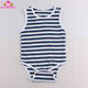 Summer Baby Romper Cotton Navy Blue And White Stripes Sleeveless Baby Onesie