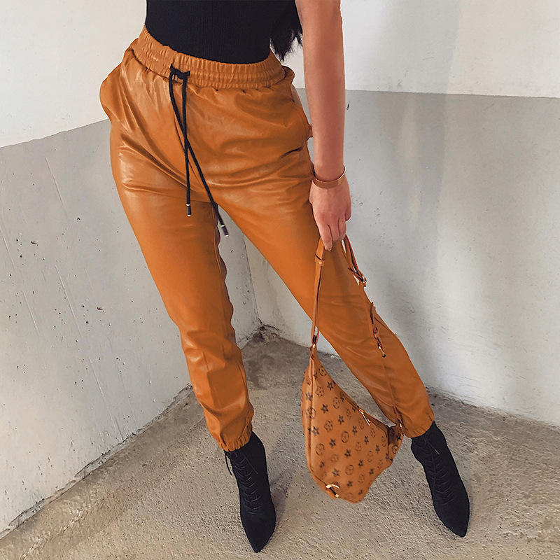 Women PU Leather Pants Fashion Street Lady Elastic Waist Pencil Pants Autumn Drawstring Sweatpants Pockets Cool Trousers