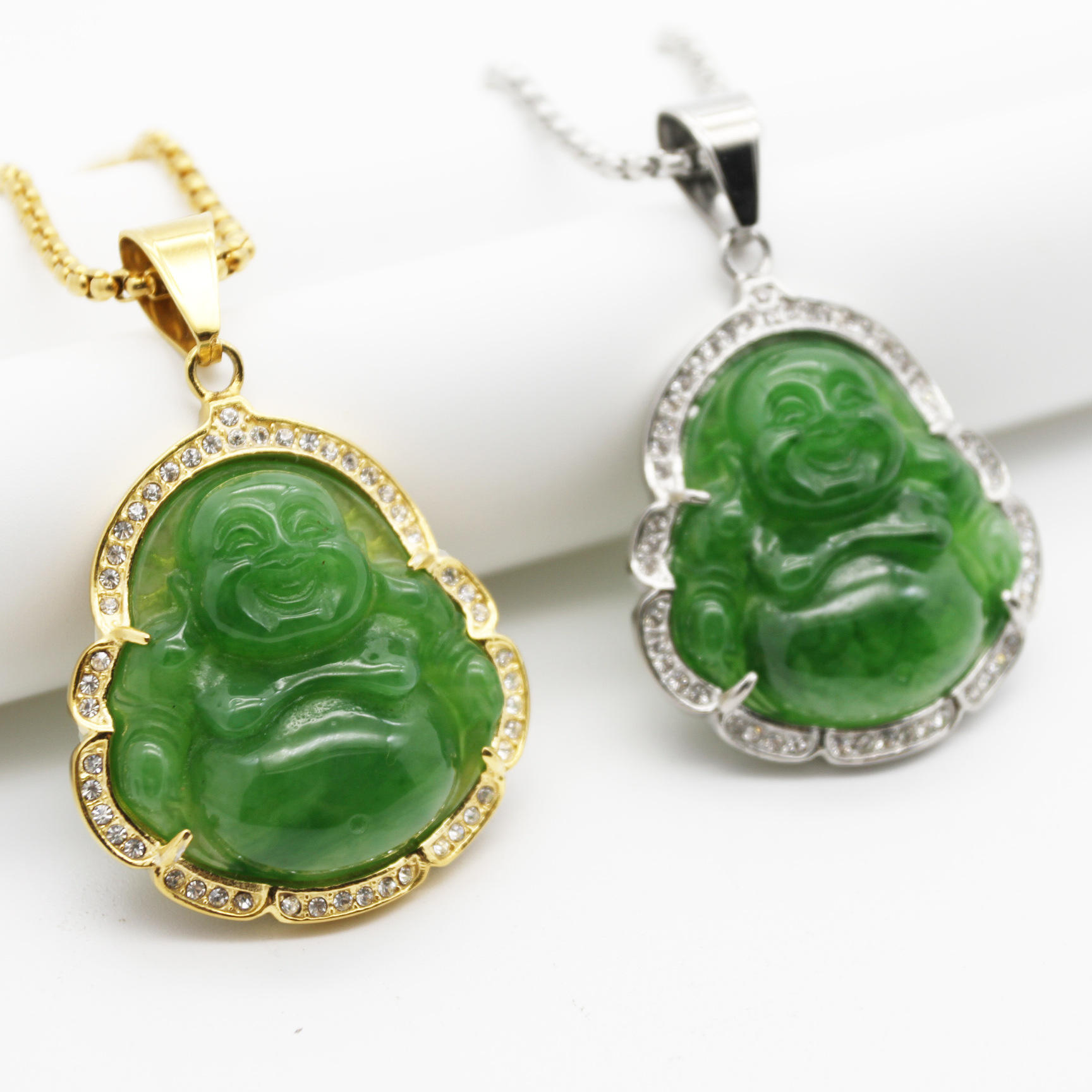 New stainless steel green agate laughing buddha pendant necklace