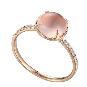 Jewelry Gorgeous Trendy Round 18K Rose Gold Rose Quartz Diamond Rings For Women