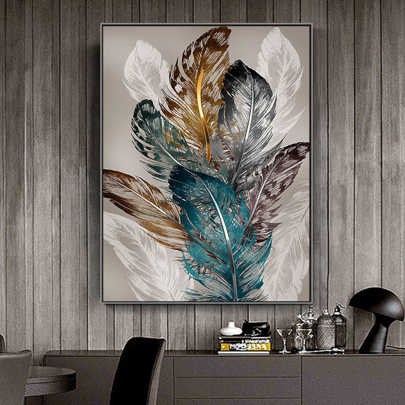 Wholesale Extra large size abstract Home decor wall hanging art framed feather paintings on canvas