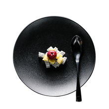 Durable Tradition round shallow matt black ceramic Steak dinner plates for Restaurant