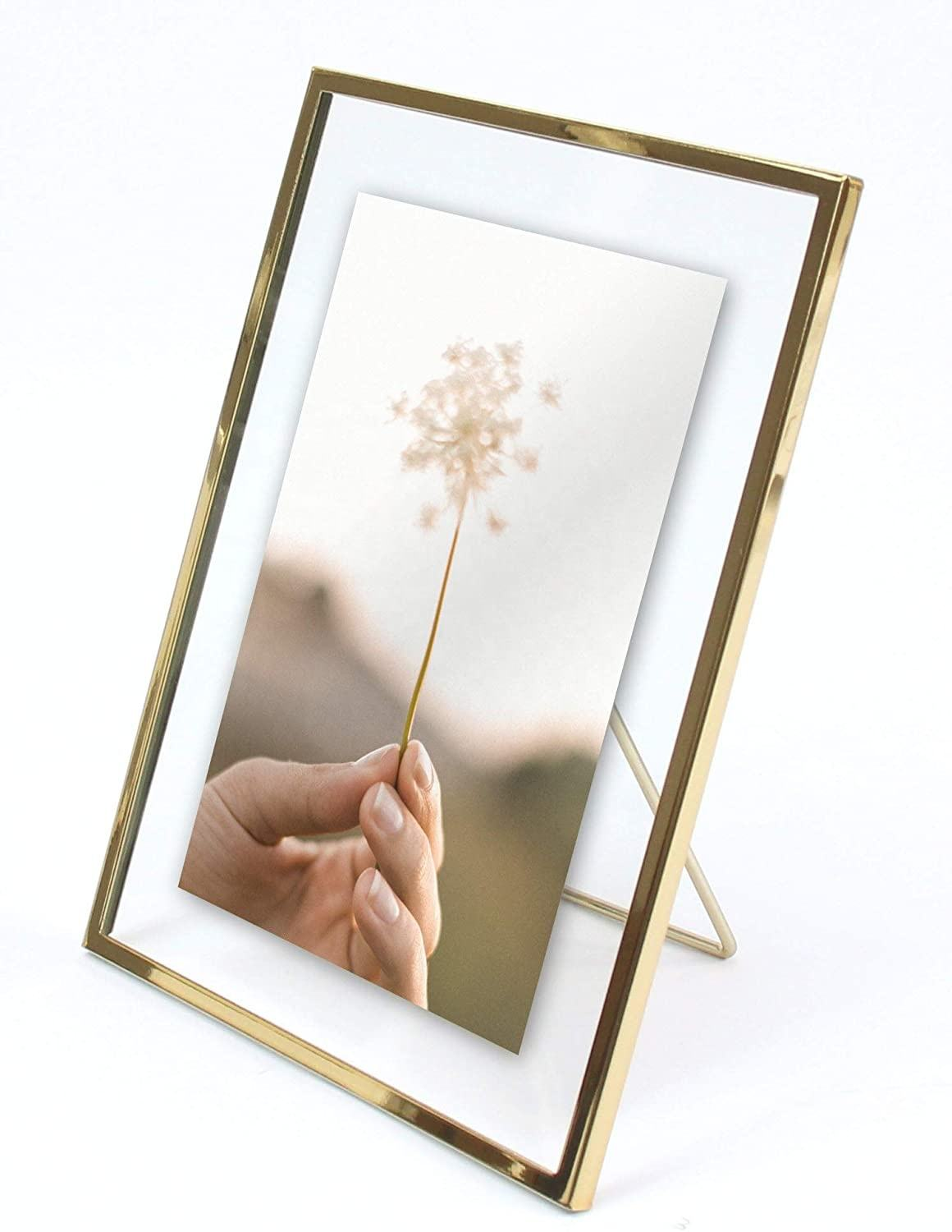 Gold Metal 4x6 Floating Pressed Glass Picture Frame with Metal Easel, Photo Display for Desk
