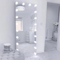 2020 Hot Sale White hollywood Vanity Light Bulbs Makeup Full Body Mirror Wholesale Dressers Women Bedroom Sets