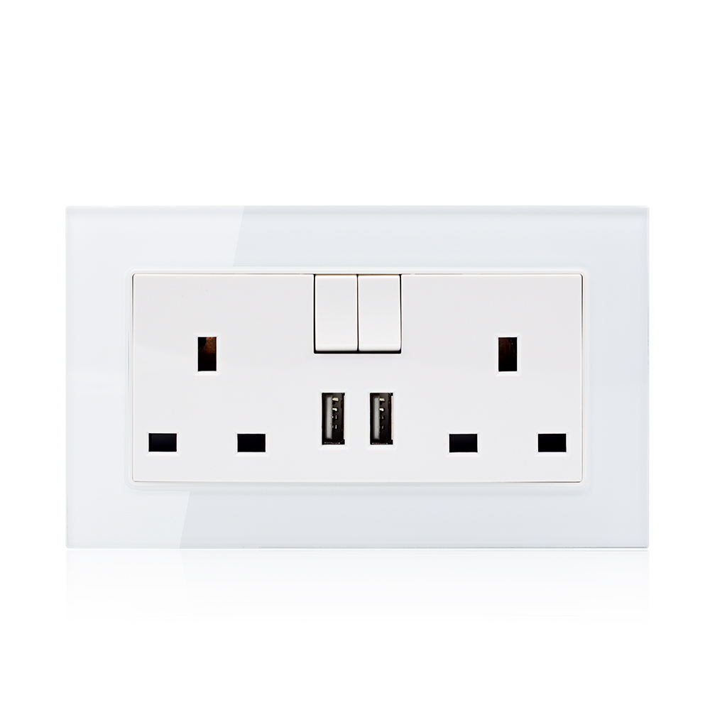 Tempered Glass UK 13a electrical plug 3 pin socket with usb