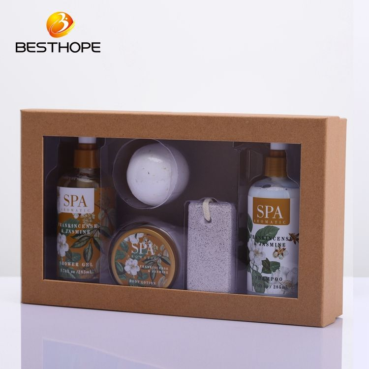 customized spa gift shampoo and body wash paper box bath set