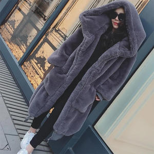 Winter Warm hooded Large size Medium length Solid color Fur & Faux Fur Women 2019 New Casual Long sleeve Women Fur coat