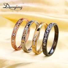 Customized 18K Gold Plated Initial Name Sliding Letters Bangle Designer Charm Slide Bangle Slider Bangle Charm Bracelet