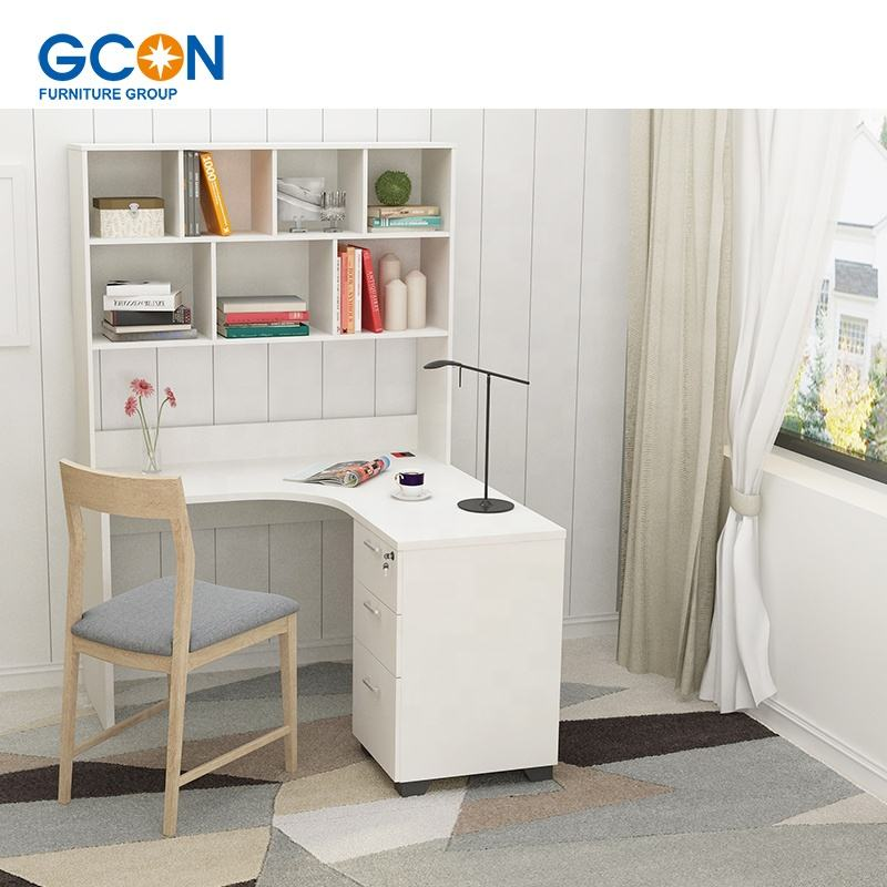 China manufacture furniture modern corner L-shaped white wooden study desk with book shelves