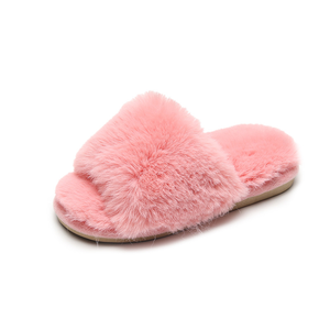 Women's Open-Toe Faux Cony-Hair House Slippers Flush Fleece Spa Home Shoes with Indoor Outdoor Anti-Skid Rubber Sole