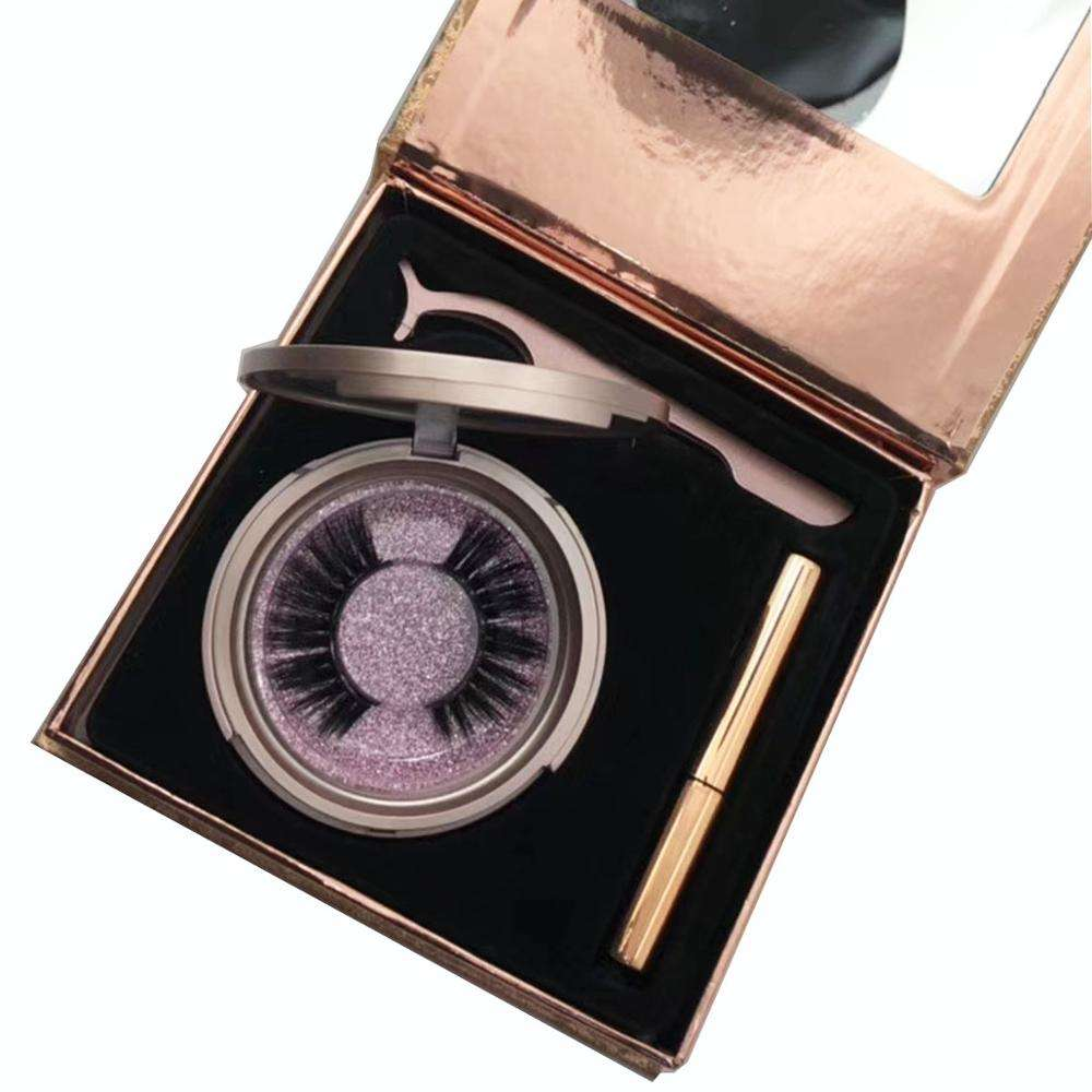 best selling rose gold luxury package 2 pairs vegan magnetic eyelashes and magnetic eyeliner pen