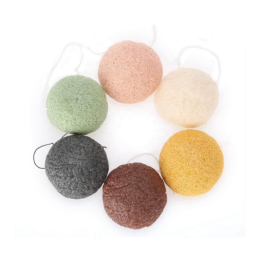 100% Natural Konjac bamboo charcoal Sponges for All Skin Type Face Exfoliating and Deep Pore Cleansing Konjac Sponge