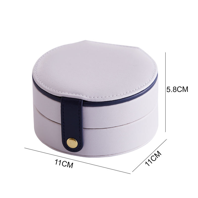 Custom Lady Jewellery Packaging Box Gift Leather Round Travel Jewelry Organizer