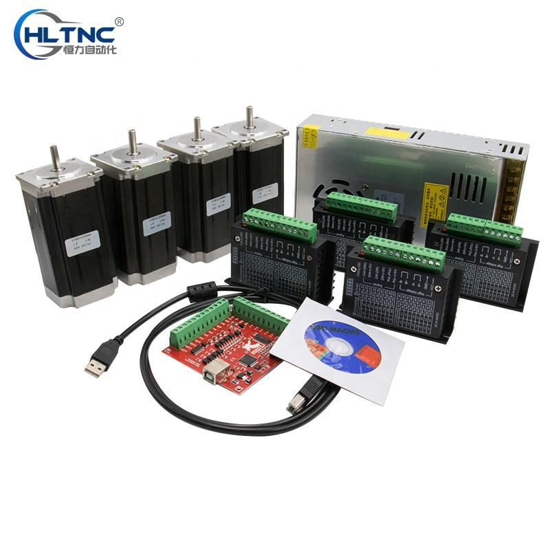 Overseas warehouse Ru ES CNC Router 4 Axis kit 4pcs TB6600 Stepper motor driver+ 4pcs NEMA 23 425 Oz motor +350W power supply