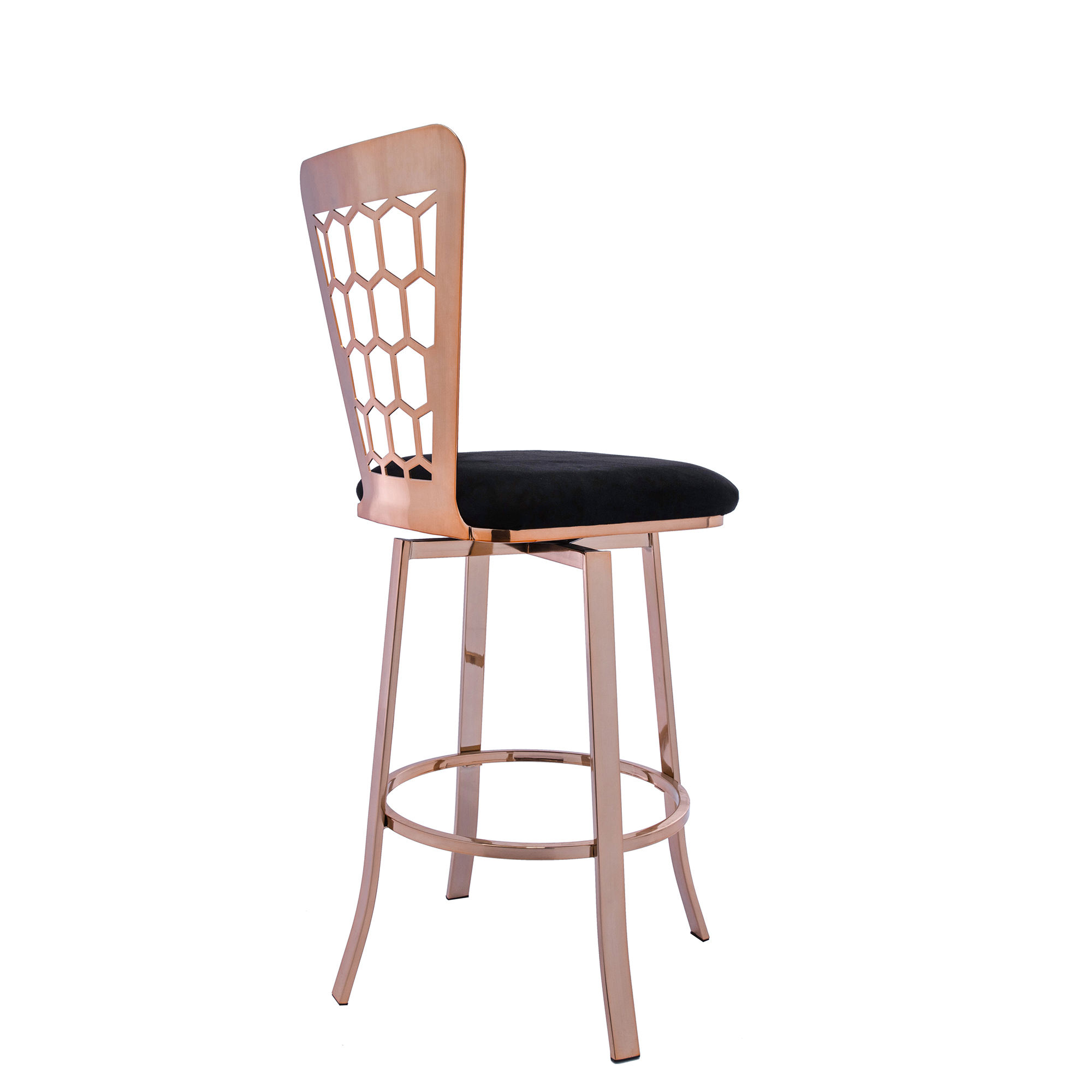 Modern Furniture Black Velvet Fabric Upholstered Rose Gold Metal High Counter Bar Stools Chairs