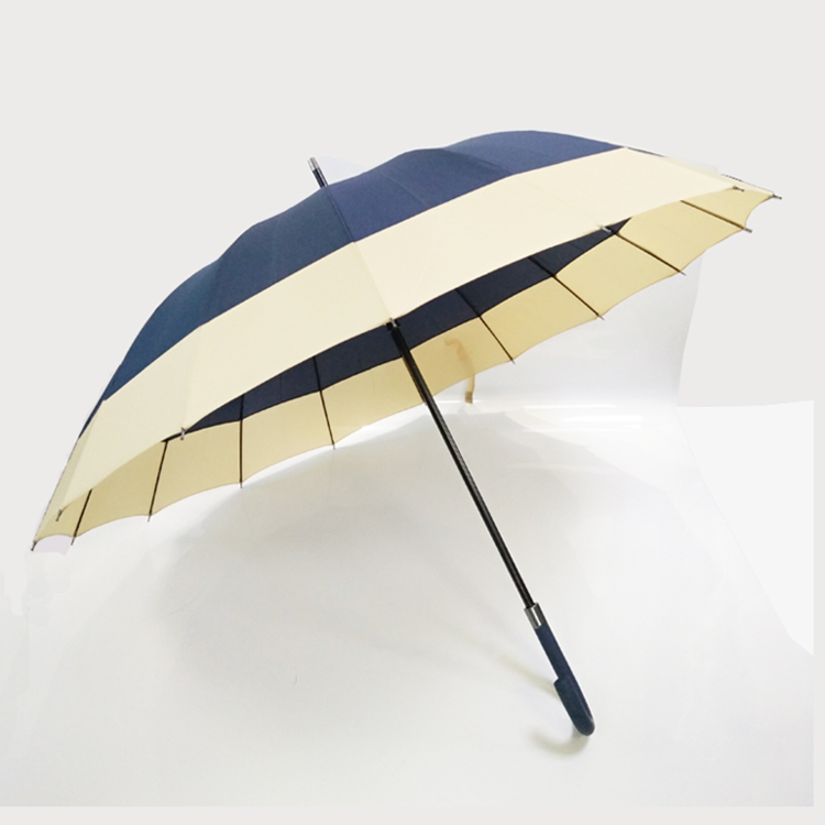 Auto open bending handle straight umbrella Nylon fabric bright colored professional 16 ribs umbrella