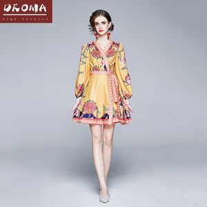 Droma in stock fall new arrival fashion sexy v neck lace-up long sleeve floral print 2020 european yellow casual dress for women