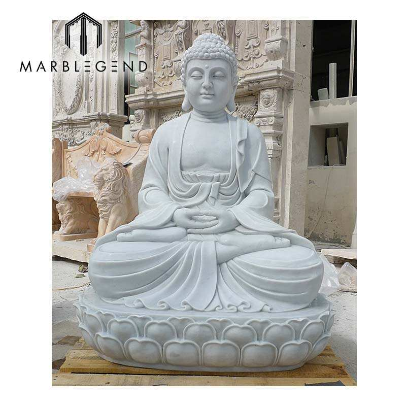 Garden outdoor stone buddha lotus flower meditation sculpture white marble hand carved meditating buddha statue